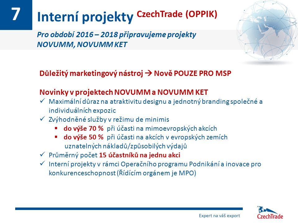 7 Interní projekty CzechTrade (OPPIK) Pro období 2016 – 2018 připravujeme projekty NOVUMM, NOVUMM KET Důležitý marketingový nástroj  Nově POUZE PRO M