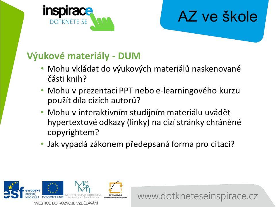Výukové materiály - DUM Mohu vkládat do výukových materiálů naskenované části knih.