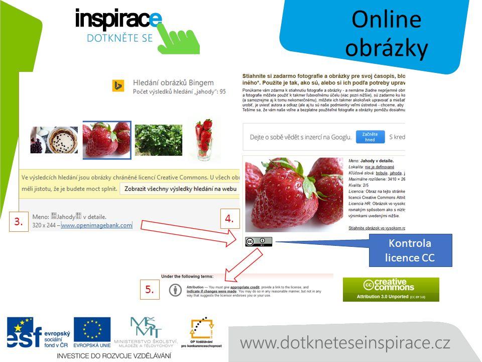 Online obrázky 3. 4. 5. Kontrola licence CC