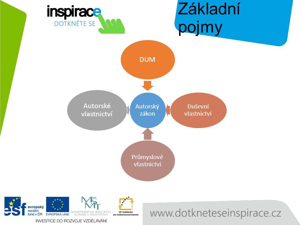 Základní pojmy Autorský zákon DUM Duševní vlastnictví Průmyslové vlastnictví Autorské vlastnictví