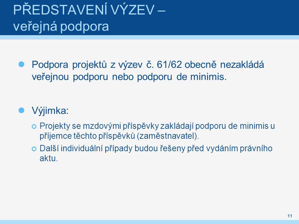 PŘEDSTAVENÍ VÝZEV – veřejná podpora Podpora projektů z výzev č.