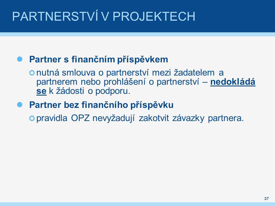 PARTNERSTVÍ V PROJEKTECH Partner s finančním příspěvkem nutná smlouva o partnerství mezi žadatelem a partnerem nebo prohlášení o partnerství – nedokládá se k žádosti o podporu.