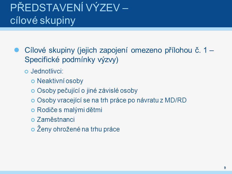 PŘEDSTAVENÍ VÝZEV – cílové skupiny Cílové skupiny (jejich zapojení omezeno přílohou č.