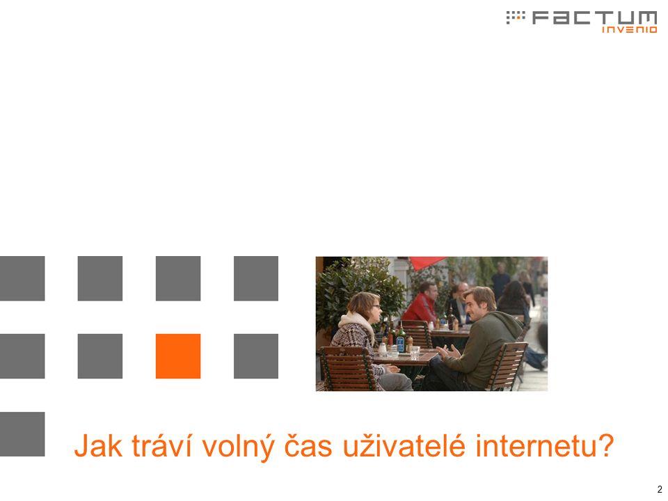 """3 Způsoby trávení volného času Internetová populace (n = 1.000; % odpovědí """"pravidelně ) Zdroj: Factum Invenio, Zpráva o českém internetu (ZOČI), 2010 video stream online zpravodajství audio stream sociální sítě online shopping e-learning"""