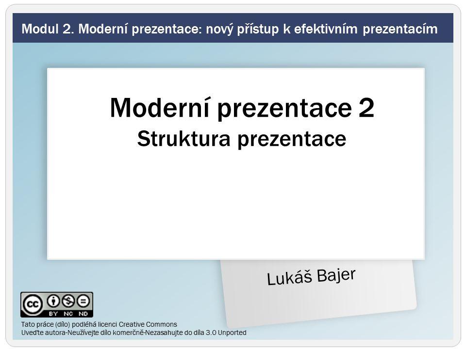 AIDA Jak vyprávět příběh prezentace Šest znaků zapamatovatelného sdělení Shrnutí Modul 2.