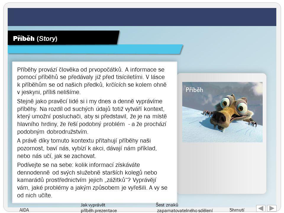 AIDA Jak vyprávět příběh prezentace Šest znaků zapamatovatelného sdělení Shrnutí Příběhy provází člověka od prvopočátků.