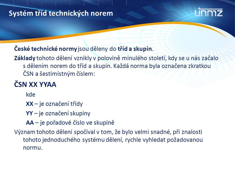 Systém tříd technických norem České technické normy jsou děleny do tříd a skupin.