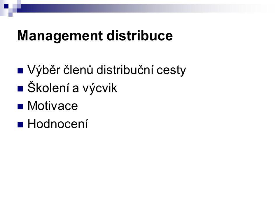 Management distribuce Výběr členů distribuční cesty Školení a výcvik Motivace Hodnocení