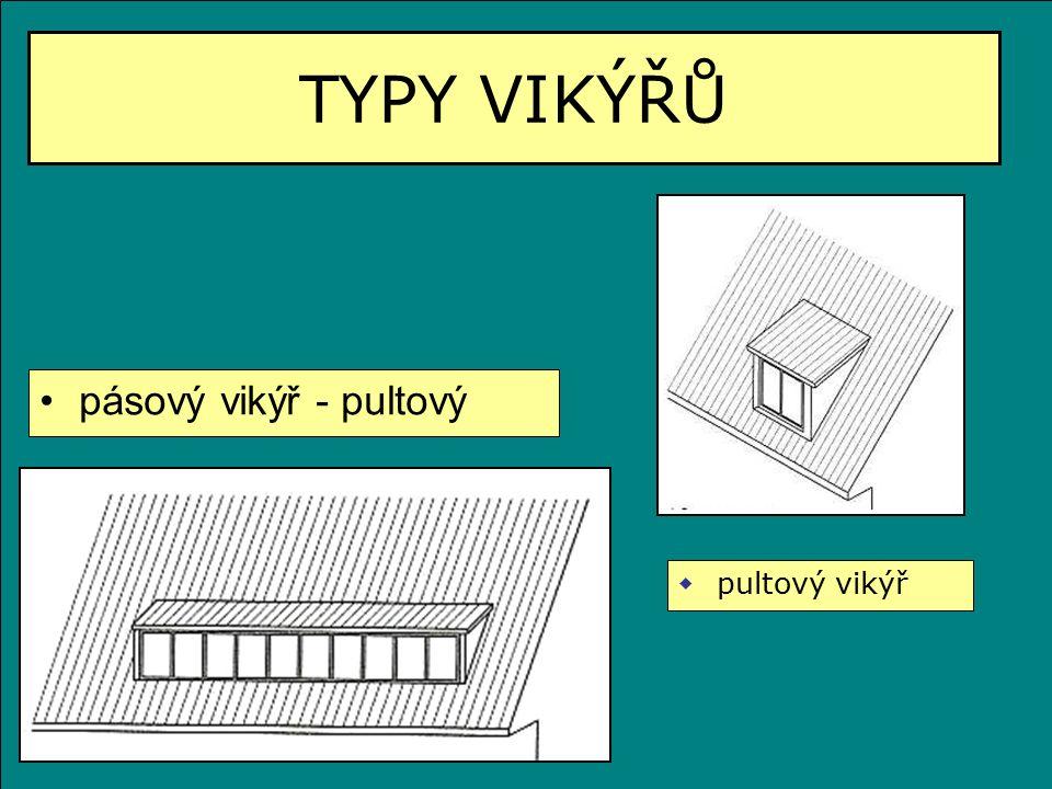 TYPY VIKÝŘŮ pásový vikýř - pultový  pultový vikýř
