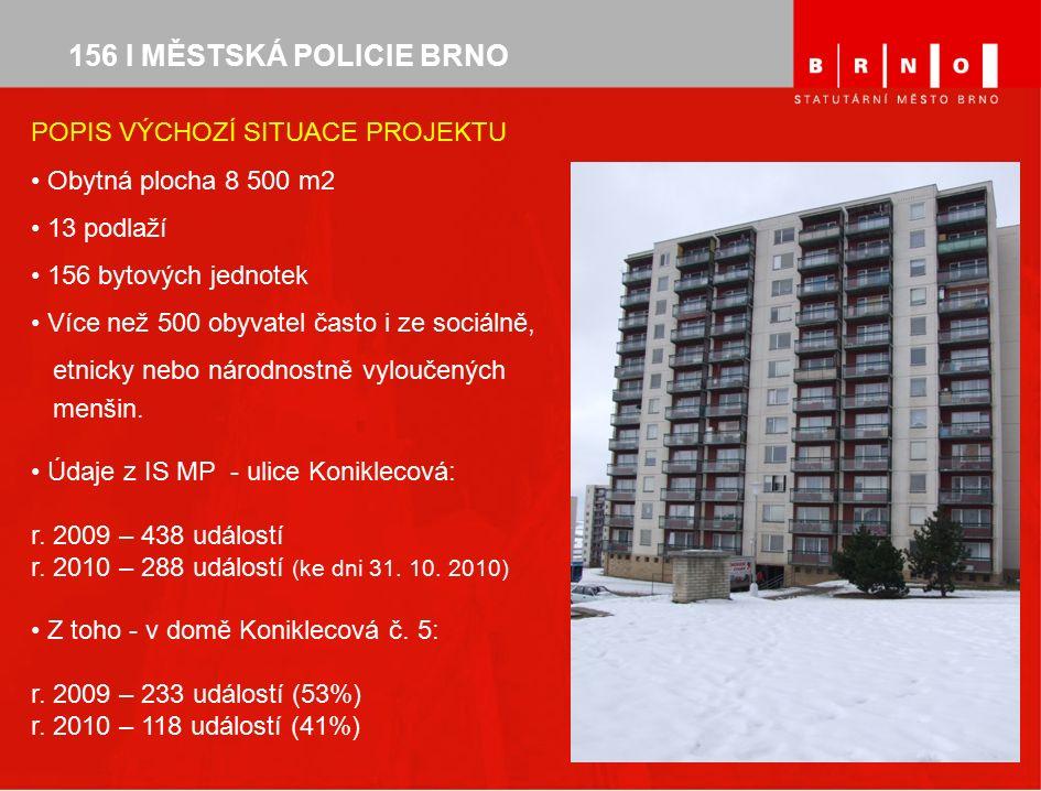 POPIS VÝCHOZÍ SITUACE PROJEKTU Obytná plocha 8 500 m2 13 podlaží 156 bytových jednotek Více než 500 obyvatel často i ze sociálně, etnicky nebo národnostně vyloučených menšin.