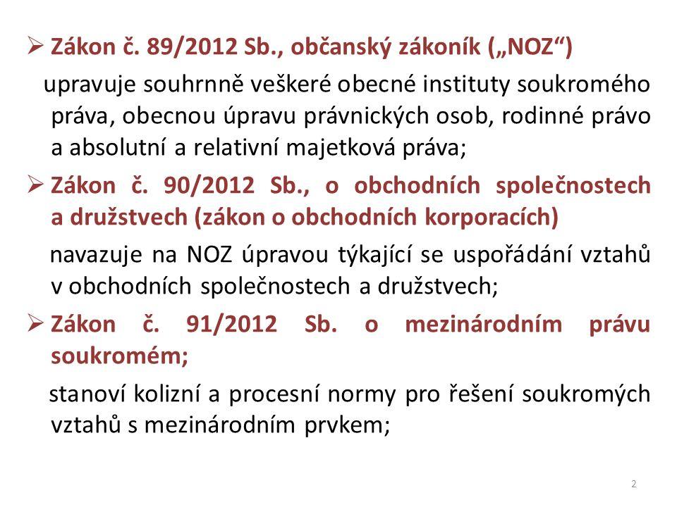 """ Zákon č. 89/2012 Sb., občanský zákoník (""""NOZ"""") upravuje souhrnně veškeré obecné instituty soukromého práva, obecnou úpravu právnických osob, rodinné"""