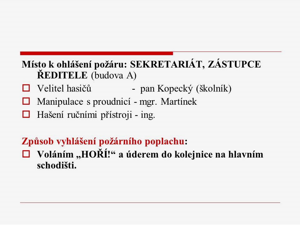 Místo k ohlášení požáru: SEKRETARIÁT, ZÁSTUPCE ŘEDITELE (budova A)  Velitel hasičů - pan Kopecký (školník)  Manipulace s proudnicí - mgr.