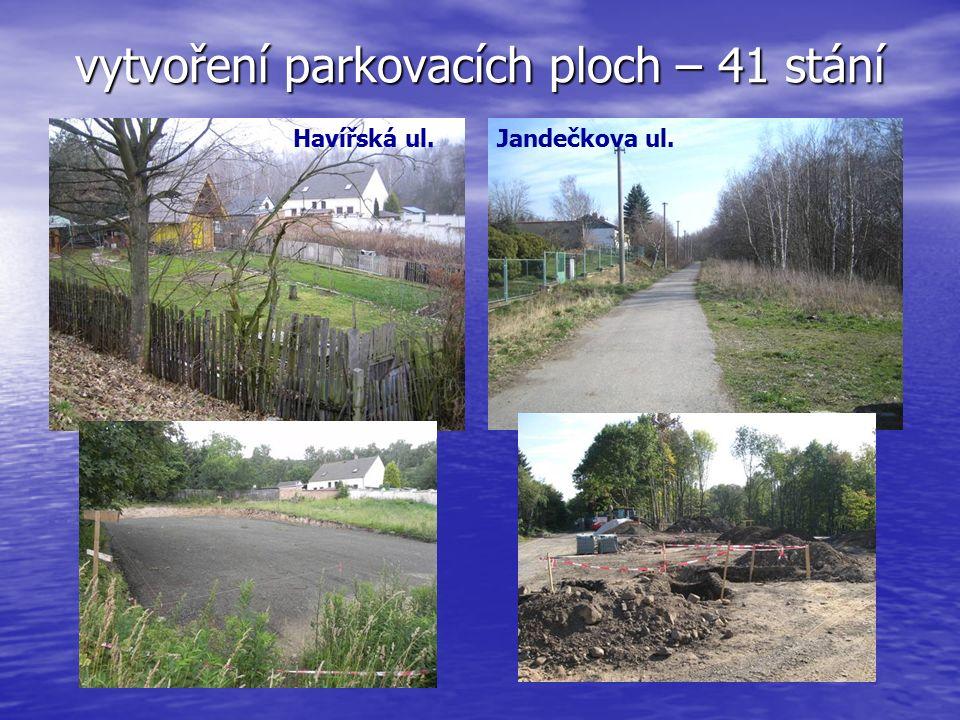 vytvoření parkovacích ploch – 41 stání Havířská ul.Jandečkova ul.