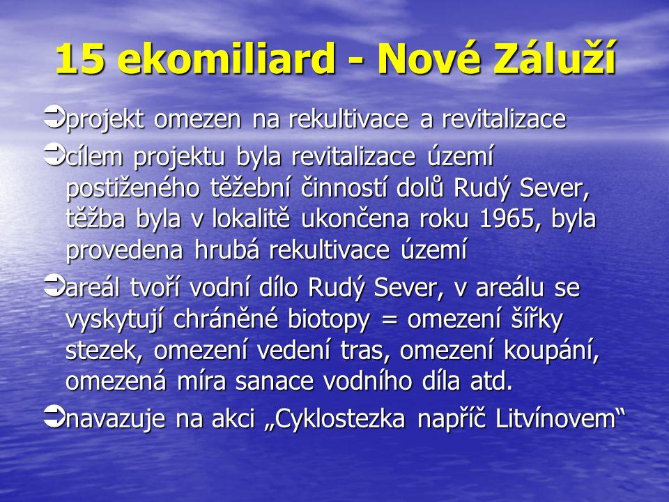 15 ekomiliard - Nové Záluží  projekt omezen na rekultivace a revitalizace  cílem projektu byla revitalizace území postiženého těžební činností dolů