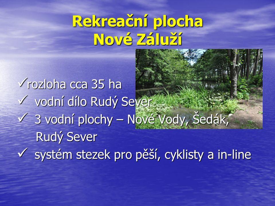 Rekreační plocha Nové Záluží rozloha cca 35 ha rozloha cca 35 ha vodní dílo Rudý Sever vodní dílo Rudý Sever 3 vodní plochy – Nové Vody, Šedák, 3 vodn