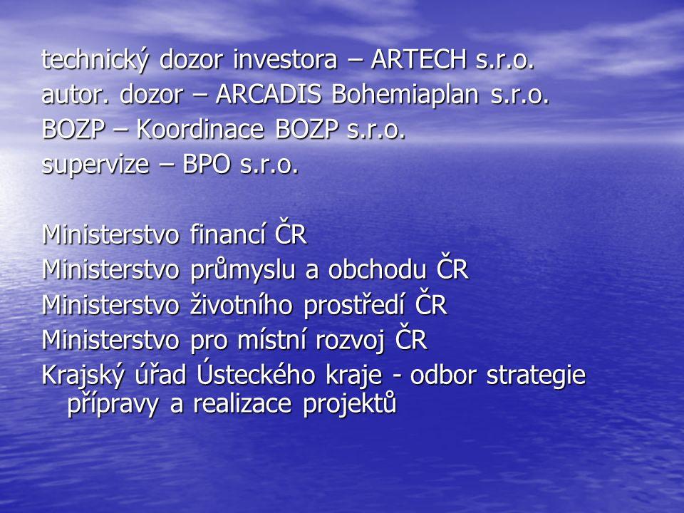 technický dozor investora – ARTECH s.r.o. autor. dozor – ARCADIS Bohemiaplan s.r.o. BOZP – Koordinace BOZP s.r.o. supervize – BPO s.r.o. Ministerstvo