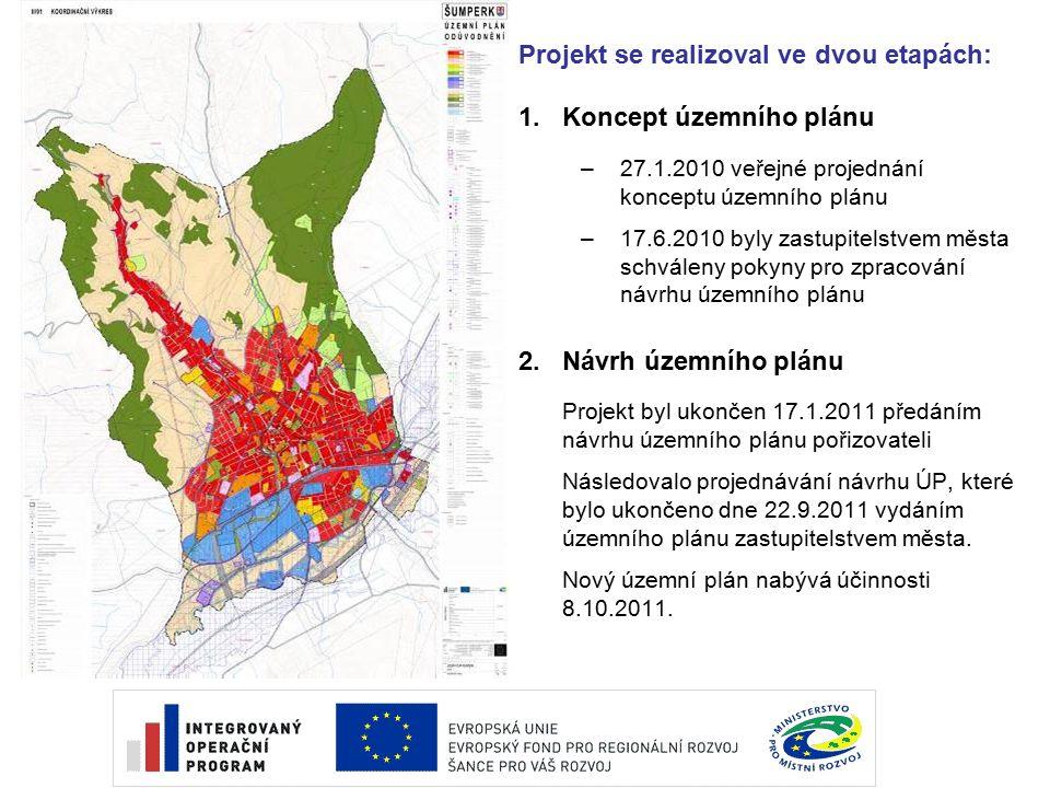 Projekt se realizoval ve dvou etapách: 1.Koncept územního plánu –27.1.2010 veřejné projednání konceptu územního plánu –17.6.2010 byly zastupitelstvem města schváleny pokyny pro zpracování návrhu územního plánu 2.Návrh územního plánu Projekt byl ukončen 17.1.2011 předáním návrhu územního plánu pořizovateli Následovalo projednávání návrhu ÚP, které bylo ukončeno dne 22.9.2011 vydáním územního plánu zastupitelstvem města.