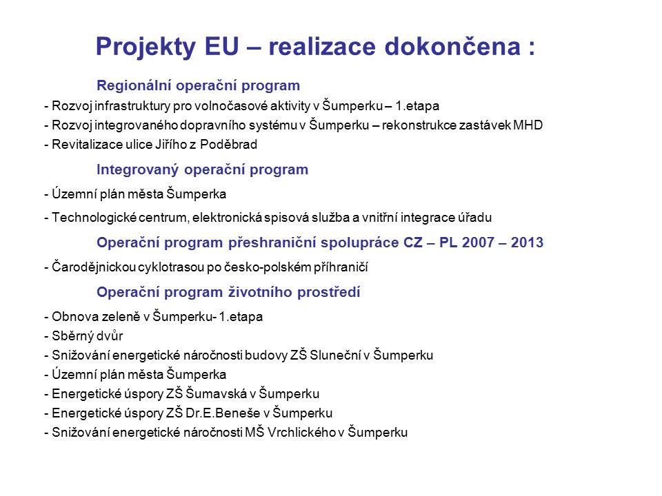 Projekty EU – probíhající realizace : Regionální operační program - Rekonstrukce přednádraží v Šumperku Celkové výdaje projektu13 434 141 Kč, Způsobilé výdaje13 143 607 Kč max.výše dotace 10 514 886 Kč - Cyklostezka Šumperk - Dolní Studénky, k.