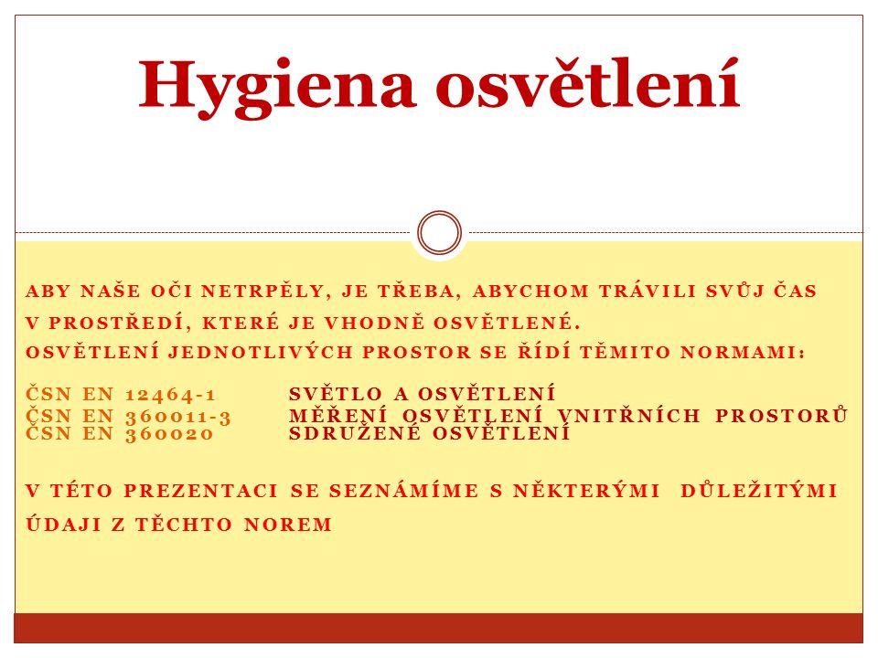 Závěr V této prezentaci jsme se seznámili jen s některými hygienickými normami pro osvětlení.
