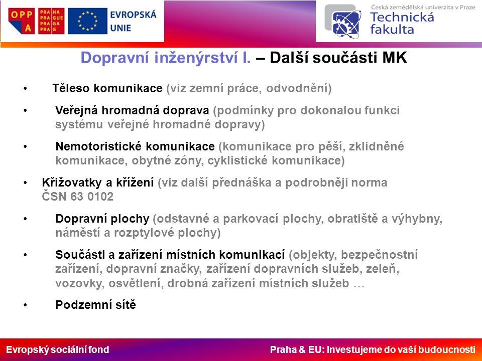 Evropský sociální fond Praha & EU: Investujeme do vaší budoucnosti Dopravní inženýrství I. – Další součásti MK Těleso komunikace (viz zemní práce, odv