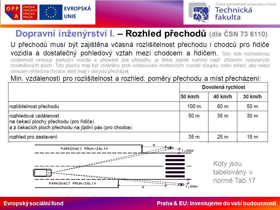 Evropský sociální fond Praha & EU: Investujeme do vaší budoucnosti Dopravní inženýrství I. – Rozhled přechodů (dle ČSN 73 6110) U přechodů musí být za