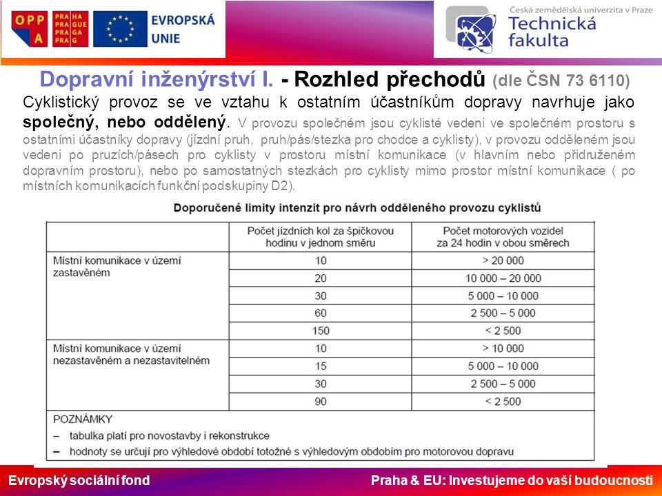 Evropský sociální fond Praha & EU: Investujeme do vaší budoucnosti Dopravní inženýrství I. - Rozhled přechodů (dle ČSN 73 6110) Cyklistický provoz se