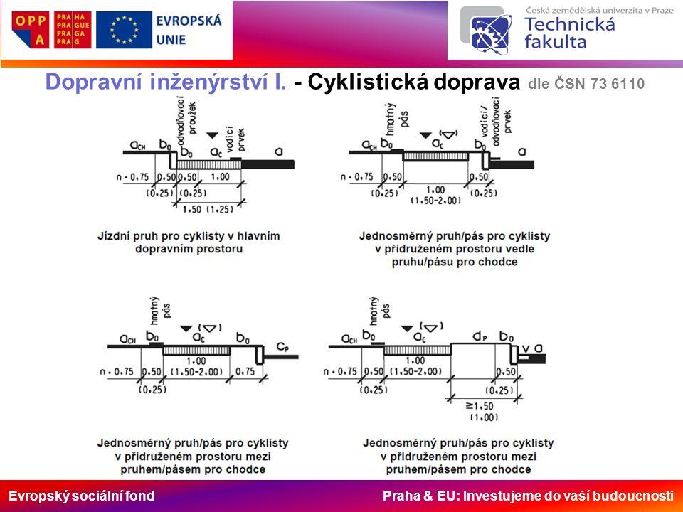 Evropský sociální fond Praha & EU: Investujeme do vaší budoucnosti Dopravní inženýrství I. - Cyklistická doprava dle ČSN 73 6110