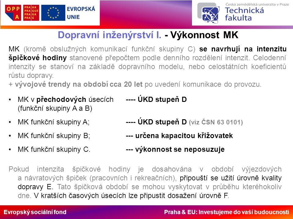 Evropský sociální fond Praha & EU: Investujeme do vaší budoucnosti Dopravní inženýrství I. - Výkonnost MK MK (kromě obslužných komunikací funkční skup