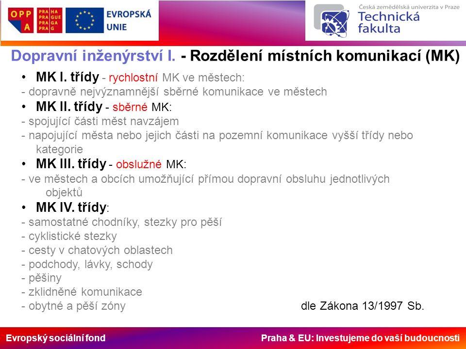 Evropský sociální fond Praha & EU: Investujeme do vaší budoucnosti Dopravní inženýrství I. - Rozdělení místních komunikací (MK) MK I. třídy - rychlost