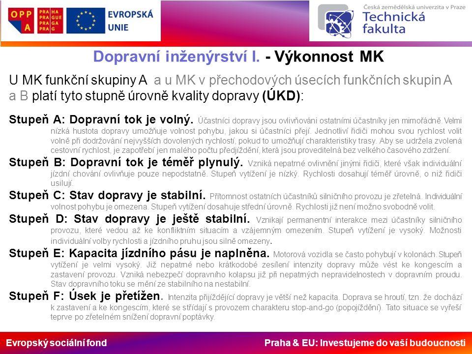 Evropský sociální fond Praha & EU: Investujeme do vaší budoucnosti Dopravní inženýrství I. - Výkonnost MK Stupeň A: Dopravní tok je volný. Účastníci d
