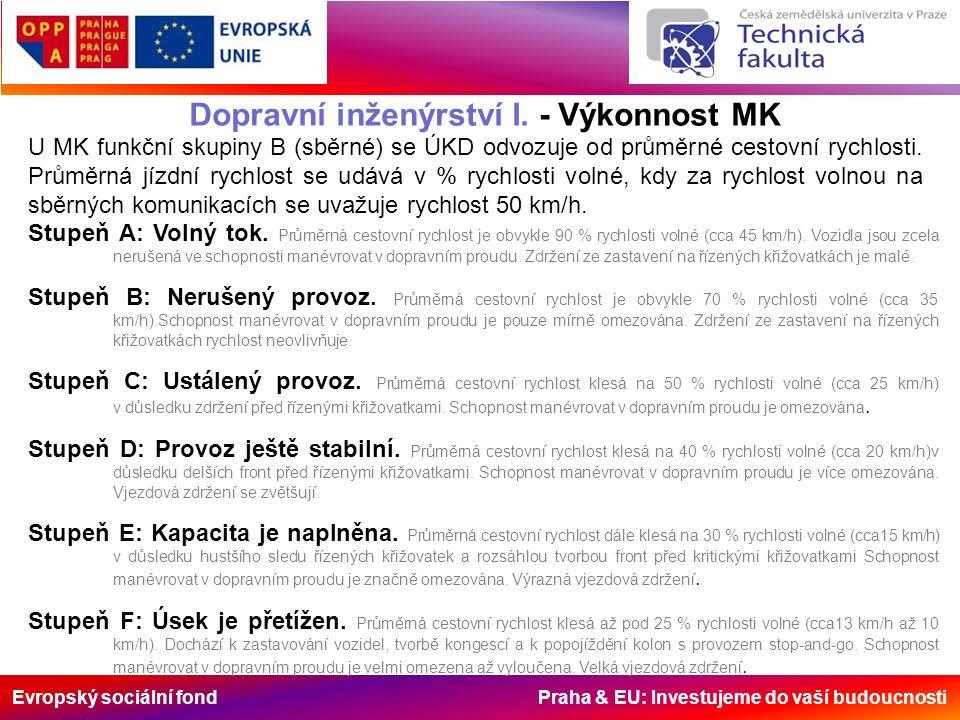 Evropský sociální fond Praha & EU: Investujeme do vaší budoucnosti Dopravní inženýrství I. - Výkonnost MK U MK funkční skupiny B (sběrné) se ÚKD odvoz
