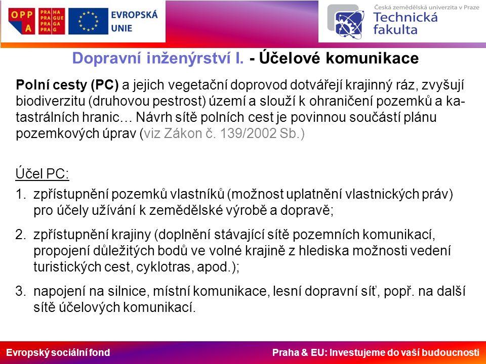 Evropský sociální fond Praha & EU: Investujeme do vaší budoucnosti Dopravní inženýrství I. - Účelové komunikace Polní cesty (PC) a jejich vegetační do