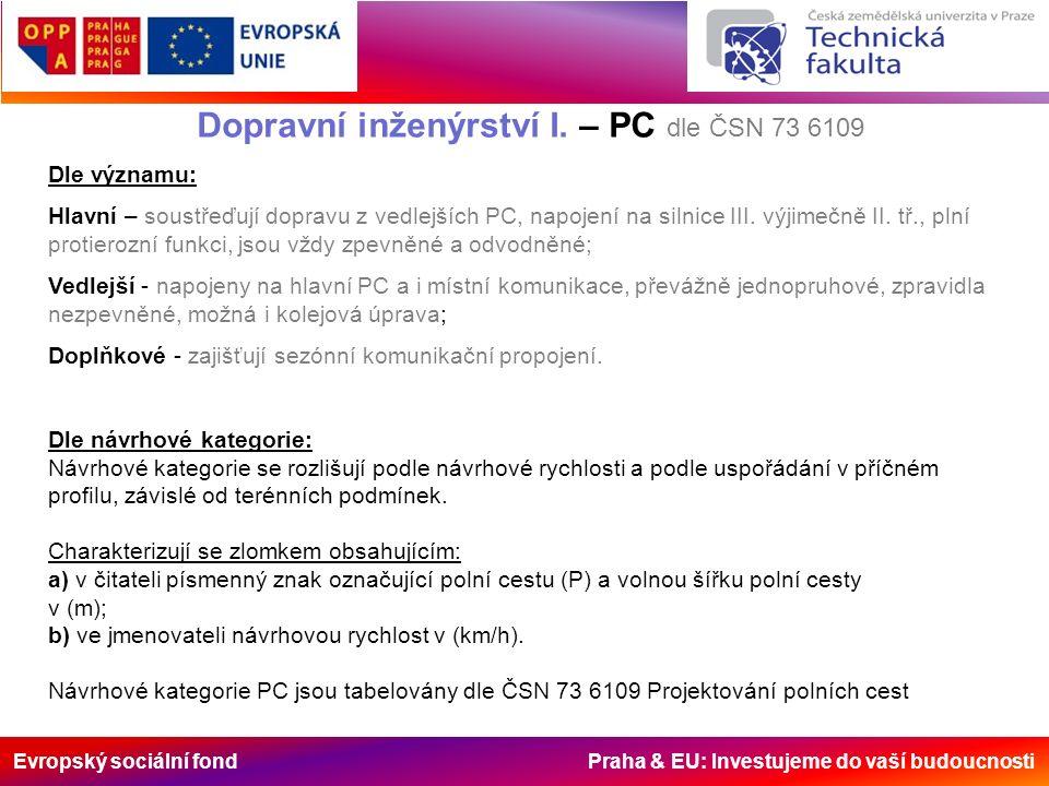 Evropský sociální fond Praha & EU: Investujeme do vaší budoucnosti Dopravní inženýrství I. – PC dle ČSN 73 6109 Dle významu: Hlavní – soustřeďují dopr