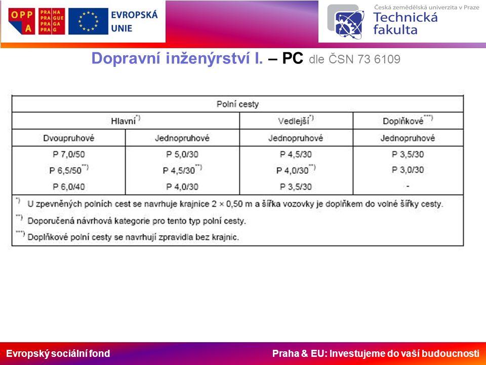 Evropský sociální fond Praha & EU: Investujeme do vaší budoucnosti Dopravní inženýrství I. – PC dle ČSN 73 6109