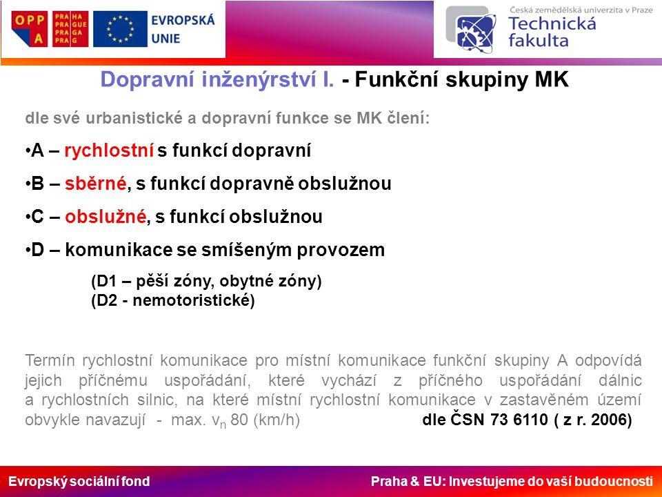 Evropský sociální fond Praha & EU: Investujeme do vaší budoucnosti Dopravní inženýrství I. - Funkční skupiny MK dle své urbanistické a dopravní funkce