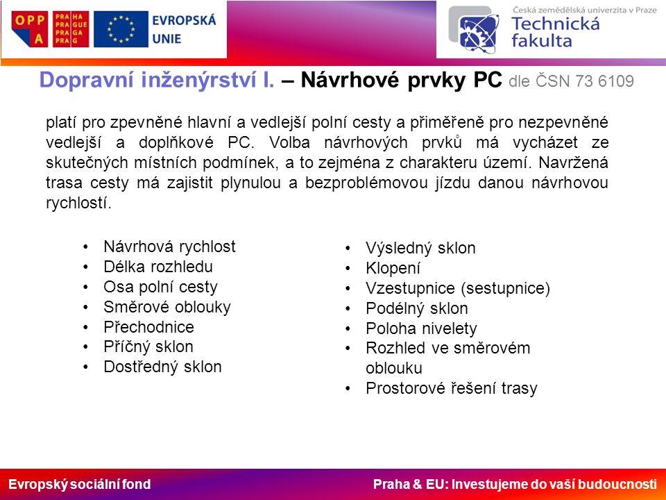 Evropský sociální fond Praha & EU: Investujeme do vaší budoucnosti Dopravní inženýrství I. – Návrhové prvky PC dle ČSN 73 6109 Návrhová rychlost Délka