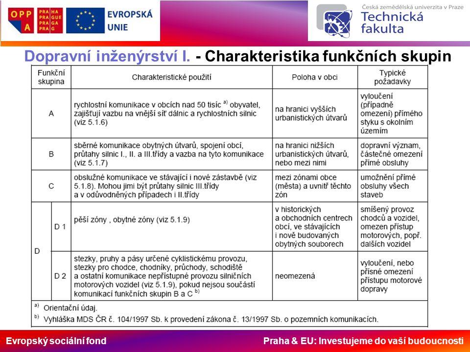 Evropský sociální fond Praha & EU: Investujeme do vaší budoucnosti Dopravní inženýrství I. - Charakteristika funkčních skupin