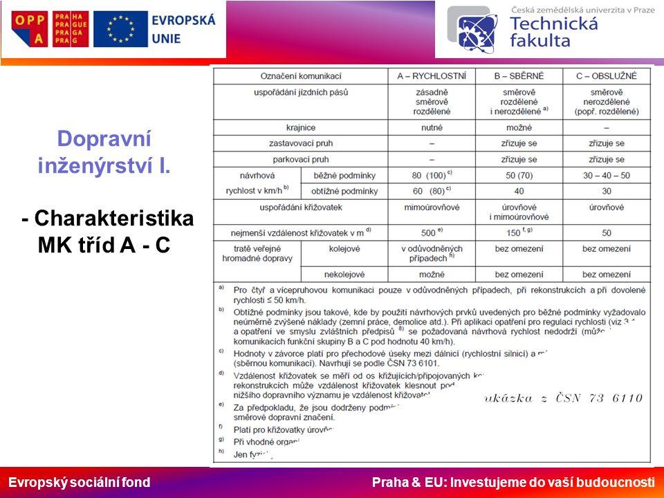Evropský sociální fond Praha & EU: Investujeme do vaší budoucnosti Dopravní inženýrství I. - Charakteristika MK tříd A - C