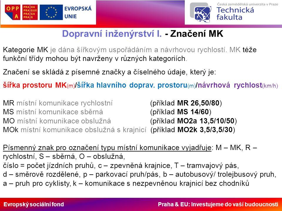 Evropský sociální fond Praha & EU: Investujeme do vaší budoucnosti Dopravní inženýrství I. - Značení MK Kategorie MK je dána šířkovým uspořádáním a ná