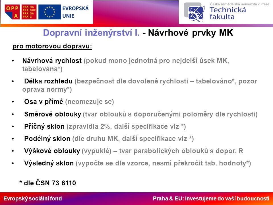 Evropský sociální fond Praha & EU: Investujeme do vaší budoucnosti Dopravní inženýrství I. - Návrhové prvky MK pro motorovou dopravu: Návrhová rychlos