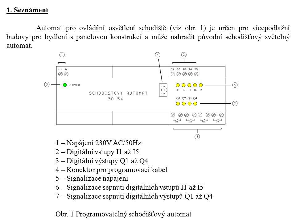 1. Seznámení Automat pro ovládání osvětlení schodiště (viz obr. 1) je určen pro vícepodlažní budovy pro bydlení s panelovou konstrukcí a může nahradit