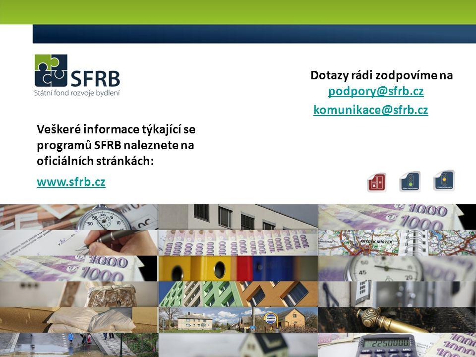 10 Veškeré informace týkající se programů SFRB naleznete na oficiálních stránkách: www.sfrb.cz Dotazy rádi zodpovíme na podpory@sfrb.cz podpory@sfrb.cz komunikace@sfrb.cz