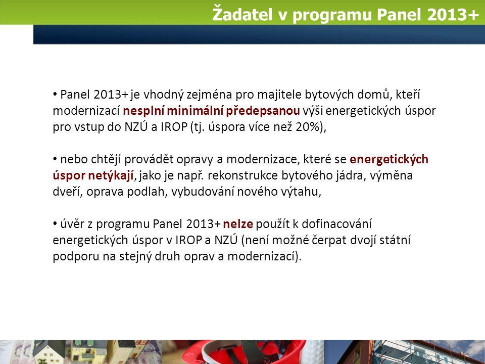 Žadatel v programu Panel 2013+ Panel 2013+ je vhodný zejména pro majitele bytových domů, kteří modernizací nesplní minimální předepsanou výši energetických úspor pro vstup do NZÚ a IROP (tj.