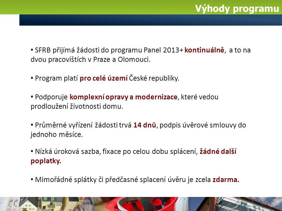 Výhody programu SFRB přijímá žádosti do programu Panel 2013+ kontinuálně, a to na dvou pracovištích v Praze a Olomouci.