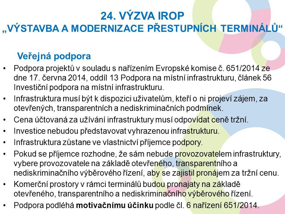 Veřejná podpora Podpora projektů v souladu s nařízením Evropské komise č.