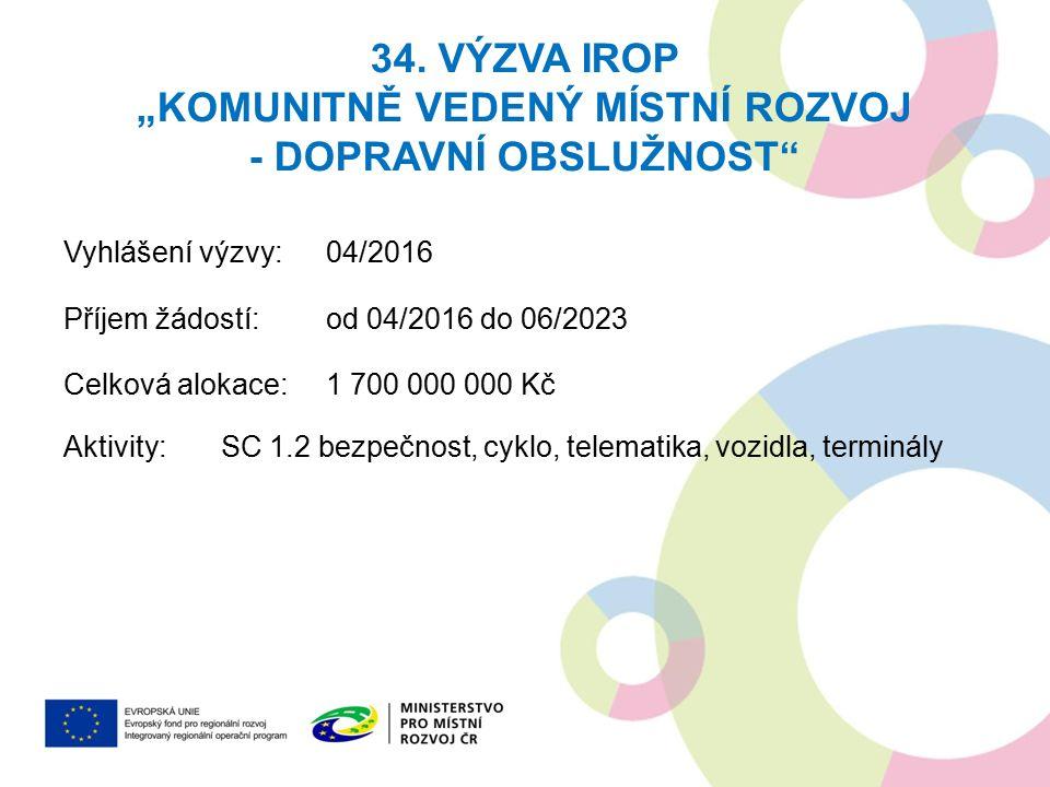 """34. VÝZVA IROP """"KOMUNITNĚ VEDENÝ MÍSTNÍ ROZVOJ - DOPRAVNÍ OBSLUŽNOST"""" Vyhlášení výzvy: 04/2016 Příjem žádostí: od 04/2016 do 06/2023 Celková alokace:1"""