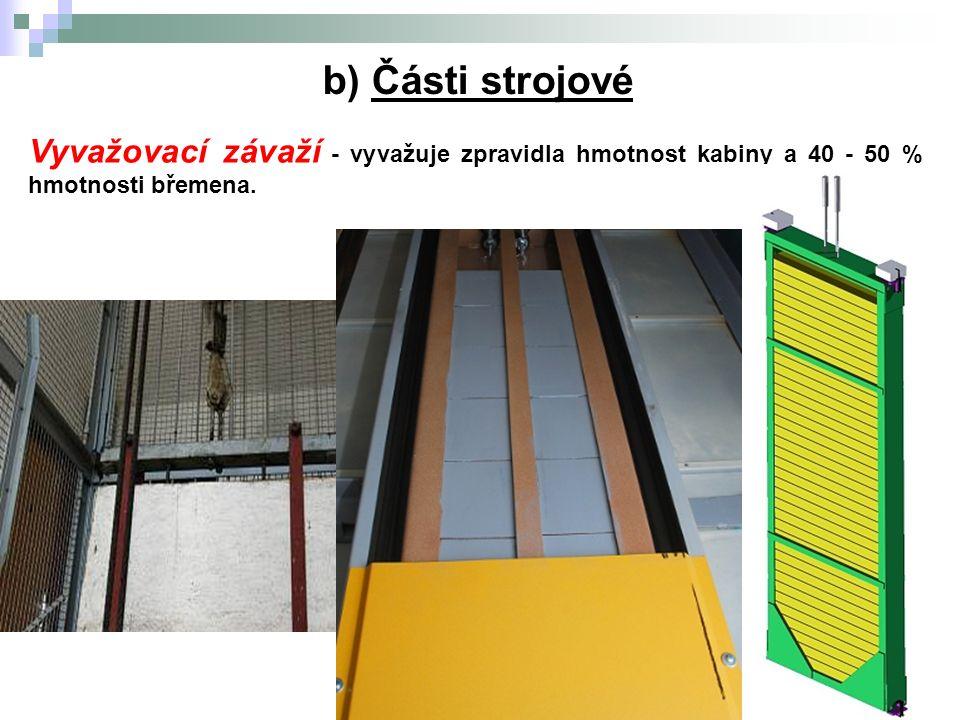 5.Výtahy b) Části strojové Vyvažovací závaží - vyvažuje zpravidla hmotnost kabiny a 40 - 50 % hmotnosti břemena.