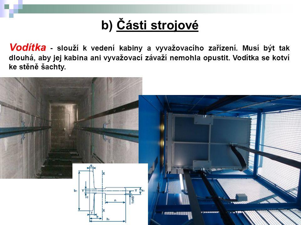 5.Výtahy b) Části strojové Vodítka - slouží k vedení kabiny a vyvažovacího zařízení.