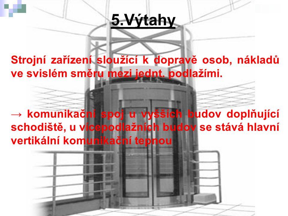 5.Výtahy b) Části strojové Lana - nosné prostředky, na jejichž jednom konci je zavěšena kabina, na druhém konci vyvažovací závaží.