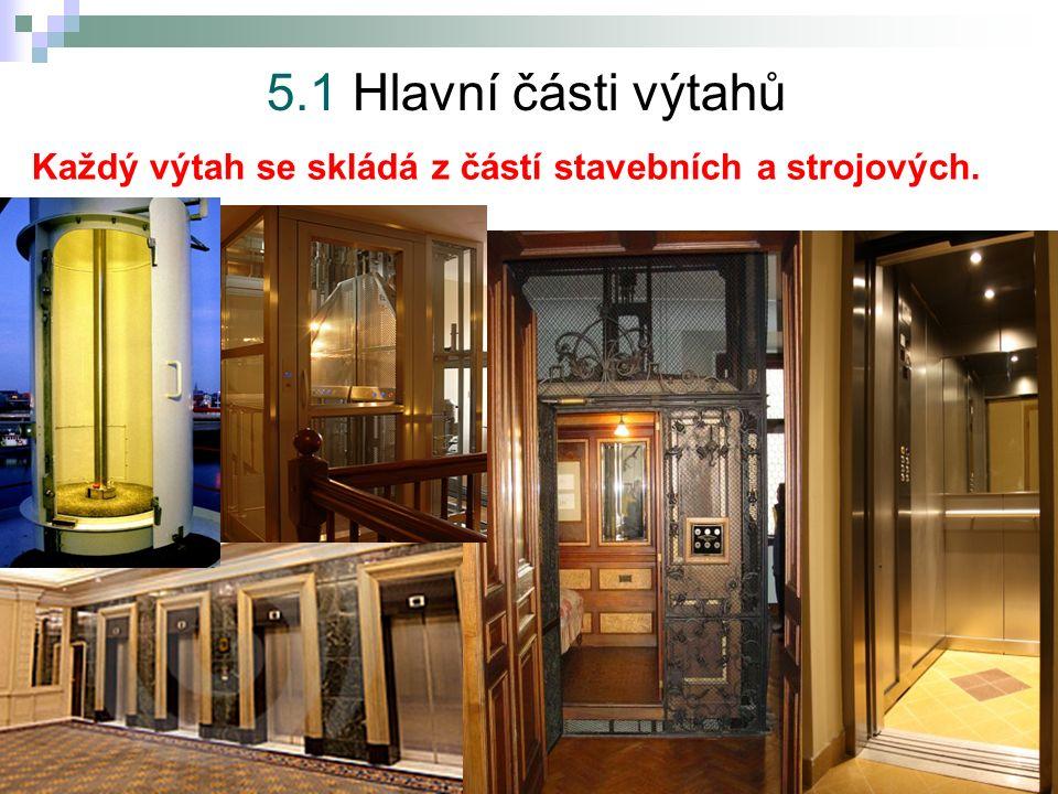 5.Výtahy 5.1 Hlavní části výtahů Každý výtah se skládá z částí stavebních a strojových.